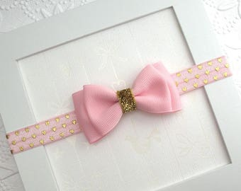 Baby Valentine's Day Headband ~ Pink Gold Glitter Hearts Baby Bow Headband ~ Baby Girl First Birthday Cake Smash Headband