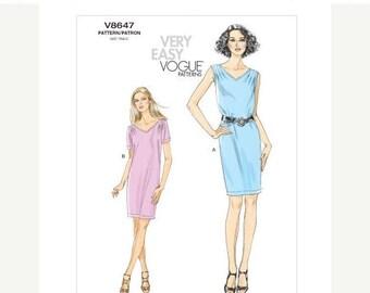 On Sale Vogue Dress Pattern v8647 - Misses' Pullover Dress - VERY EASY VOGUE -  Sz 8/10/12/14