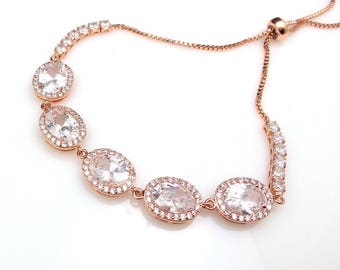 Wedding jewelry bridesmaid gift party prom christmas bridal bracelet oval rose gold pave halo clear white cubic zirconia adjustable slider