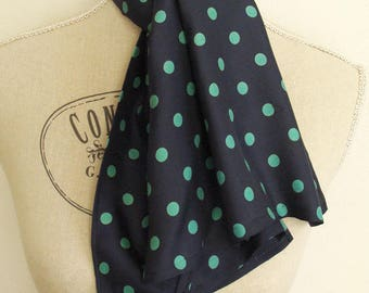 Navy Blue retro scarf has green dots