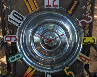 Hubcap Clock, Fathers Day Gifts, for him, License Plate Clock, Gift Ideas, Hubcap, Fathers Day, Gifts for him, Man Cave Decor, Unique Gifts