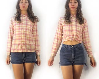 Vintage Penney's plaid button shirt blouse // size 14 xs xsmall  // 70s 80s checkered retro oxford