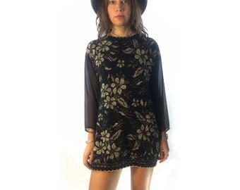 Vintage Metallic Floral Pullover Sweater Tunic Mini Dress with Sheer Sleeves // small medium