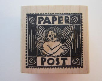 rubber stamp - PAPER POST angel, cupid, heart - A Stamp in the Hand