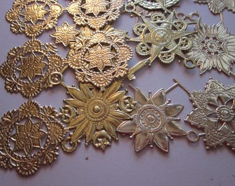 vintage gold paper foil Dresden - paper scrap, gold paper lace, embossed gold foil paper trims
