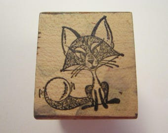 vintage rubber stamp - FOXY FOX - cute fox stamp - used rubber stamp