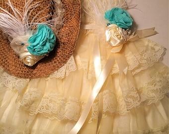 Ivory Lace Ruffled Petti Dress- Ivory Turquoise Accessory Brooch