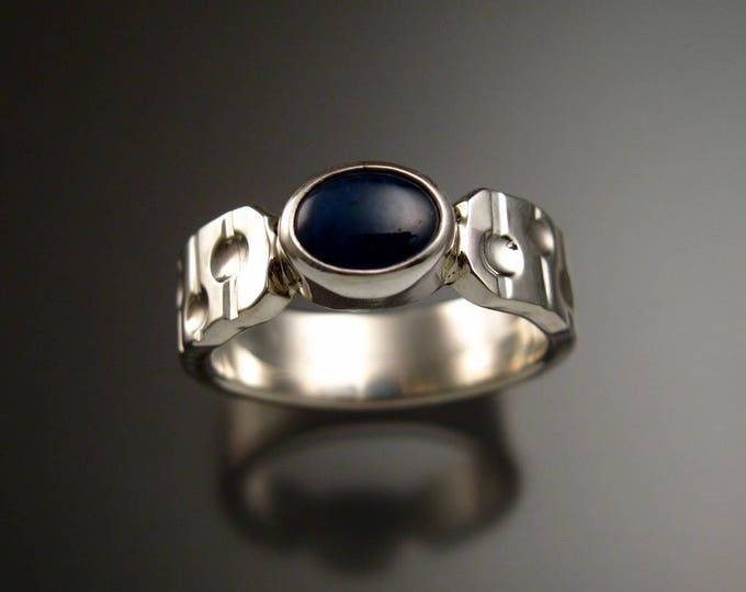 """Star Sapphire ring Natural blue star Sapphire Sterling Silver ring Made to order in your size """"Bars and Craters"""" band"""