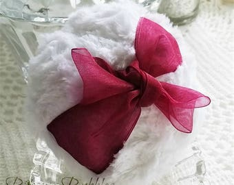 BURGUNDY Powder Puff - burgundy wine and white - soft bath pouf - gift box option - made by Bonny Bubbles