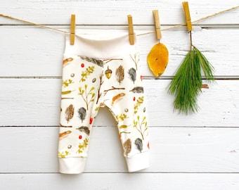 Organic Baby Leggings, Fall Baby Girl Leggings, Baby Girl Pants, Baby Girl Clothes, Feathers, Acorns Baby Leggings, Boho Baby Leggings