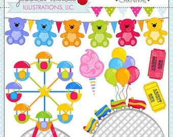 SALE Carnival Cute Clipart, Amusement Park Clip Art, Summer Clipart, Rollercoaster, Cotton Candy, Ferris Wheel, Summer Graphics, Arcade