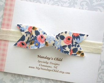 Rifle Paper Co Baby Bow, Baby Bow Headband, Floral Bow Headband, Floral Baby Bow, Blue Baby Bow, Baby Headband, Toddler Headband, Baby Girl