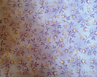 Lavender Calico Cotton Quilting Fabric Brown Flowers Floral