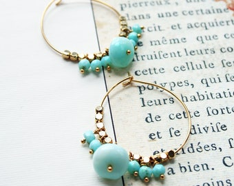 Opal Hoop Earrings, Summer Party, Hoop Earrings, Boho Hoop Earrings, Blue Opal Earrings