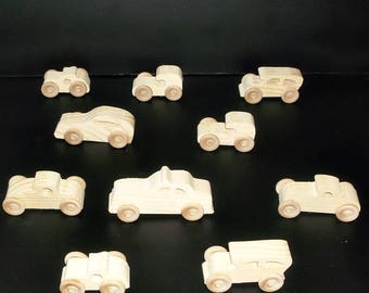 10 Handcrafted Wood Toy Cars, Taxi  OT-22  unfinished or finished