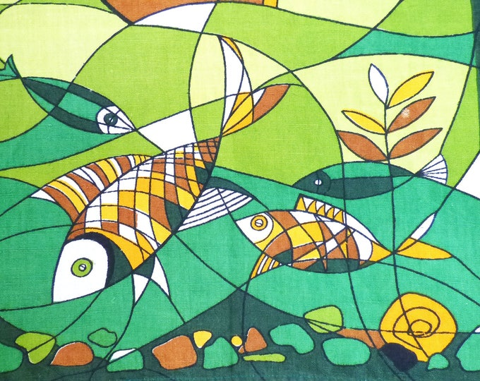 Vintage Tea towel Fish Abstract design