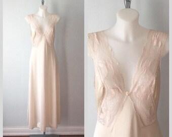 Vintage Beige Nightgown, Van Raalte, 1980s Nightgown, Romantic, Wedding, Vintage Nightgown, Nightgowns