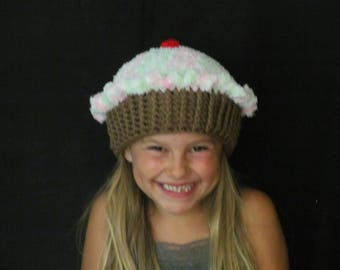 Crochet Cupcake Hat ~ Size Small ~ Pink, green and white top/Medium brown bottom
