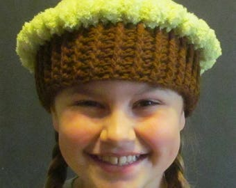 Crochet Cupcake Hat ~ Size Small~ Lime green top/Dark brown bottom