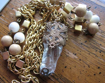 Clear quartz crystal necklace | point | gold | statement jewelry | brass