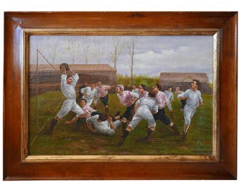 Painting, Framed Oil on Canvas, of Rugby Match, Late 1800s, Edwardian Era