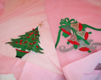 Vintage Christmas Tablecloth Pink Tulle and Felt Trees, Bells, Sequined 74 x 104 inches Large