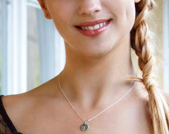 Monogram necklace, initial pendant necklace, silver initial necklace, personalized gift for daughter, sister, girlfriend - Paloma