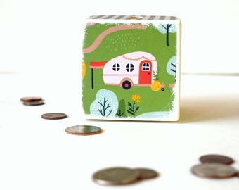 Glamping Piggy Bank, Tent,  Wooden Bank, Coin Box, Money Box, Tirelire, Wood bank, Kids Bank, Change Box, Cash Box, Camper, Glamping