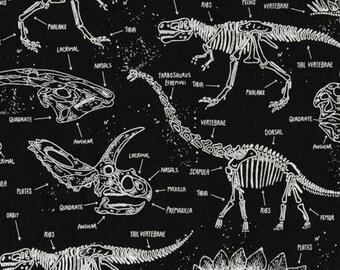 Realistic Dinosaur Skeletons from Timeless Treasures - Full or Half Yard Dinosaur Bones on Black