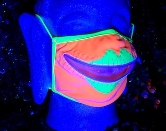 Queen of the Blacklight neon zipper mask for psychedelic orgies and other festival fun, Burning Man, EDC, color runs