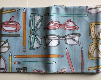 "Windham Fabrics ""Type"" Pencils and Glasses Fabric FAT QUARTER"
