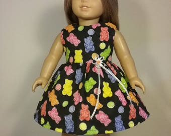 18 inch Doll Clothes Gummy Bear Print Dress will fit like American Girl Doll Clothes