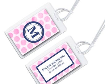 personalized bag tag for luggage, backpacks, lunch boxes and more, watercolor polka dot for back to school in multiple colors