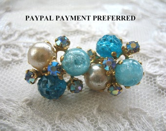Vintage Cluster Earrings ~ Clip On ~ Turquoise Pearl  & Plastic Beads and Rhinestones