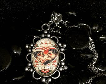 Til death due us part sailor and pin up love antiquated 25 x 18mm silver pendant rockabilly flash tattoo