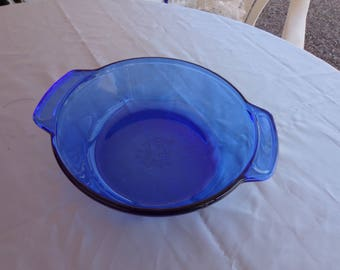 Cobalt BlueCasserole Dish - Anchor Hocking Open Casserole Dish - blue glass oven micro safe 2 qt size