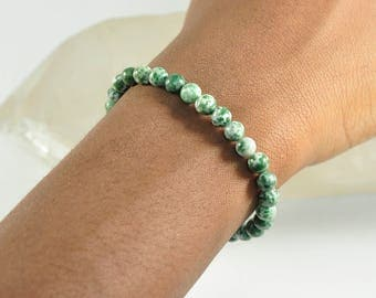 Tree Agate, Gemstone, Stretch, Mala, Bracelet, Men's Jewelry, Women's Jewelry, Stretchy Bracelet