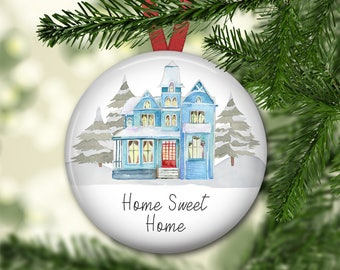 Home Sweet Home ornament for tree - Victorian house Christmas ornament - modern farmhouse decor - ORN-62