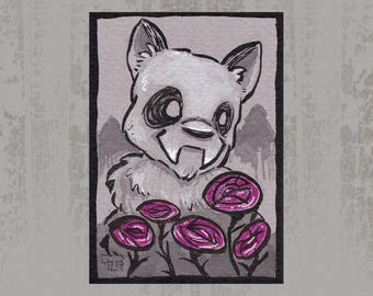 Creature with flowers - Original ACEO, Ink illustration