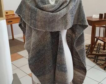 Handwoven Ruana Poncho Shawl, Brown and Gray and Natural Colors