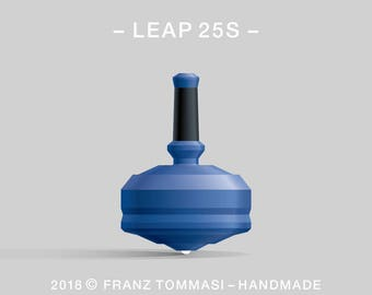 LEAP 25S Blue – Precision handmade polymer spin top with ceramic tip and rubber grip