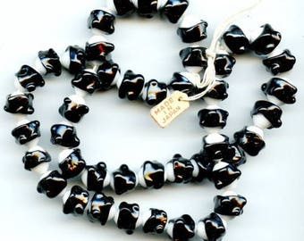 Vintage Japanese Beads with Applied Black Bands