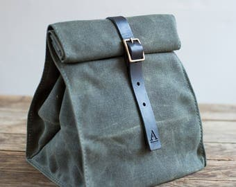 Lunch Tote w/ Buckle in Olive Waxed Canvas & Black Leather