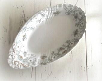Vintage Green Transferware Dish Oval Plate Relish Dish John Edwards England