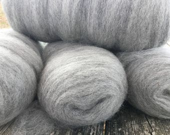 Dusky gray alpaca undyed roving perfect for felting or hand spinning fiber
