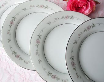 Vintage Salad Plates Rose China Sweet Love Pink Gray Set of Four