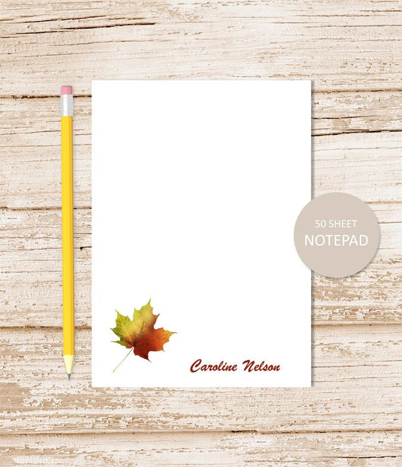 personalized leaf notepad note pad autumn leaf notepad fall