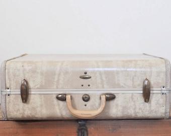 Vintage Samsonite Suitcase Ivory Marble Luggage 21 Inch Hardside Suit Case Travel Storage Display