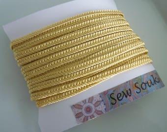 Golden Yellow Moroccan very narrow woven flat braid, art silk 5 metres