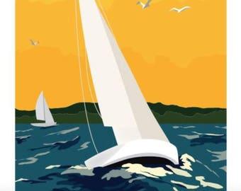 Lake Superior Shore Towns Series: Art Deco Chequamegon Bay Sailing Poster